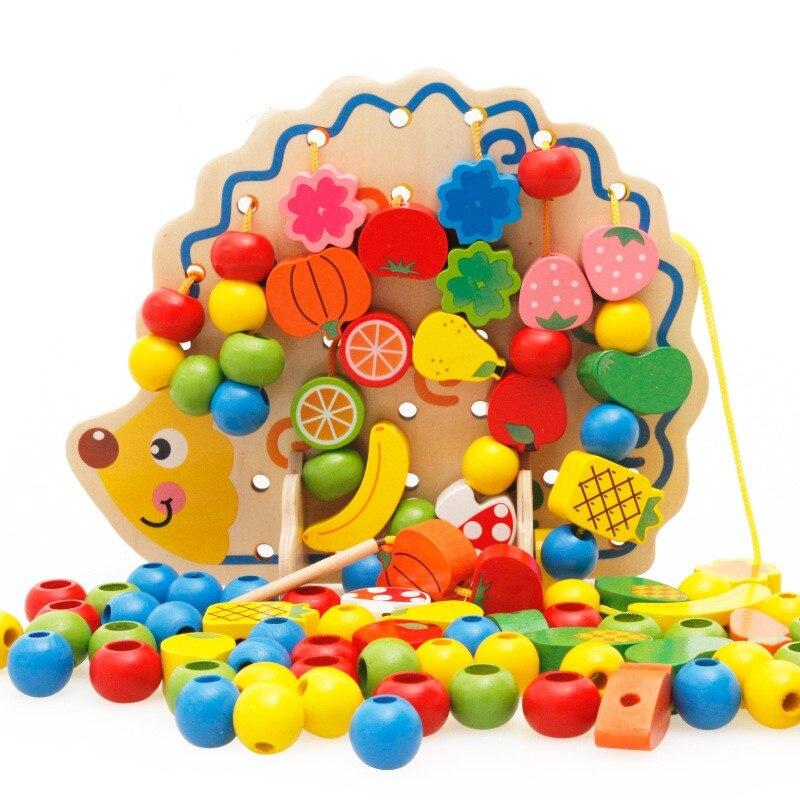 Juguetes de madera con cuentas de cordones y cordones de frutas y verduras con tabla de erizo para niños mayores de 3 años