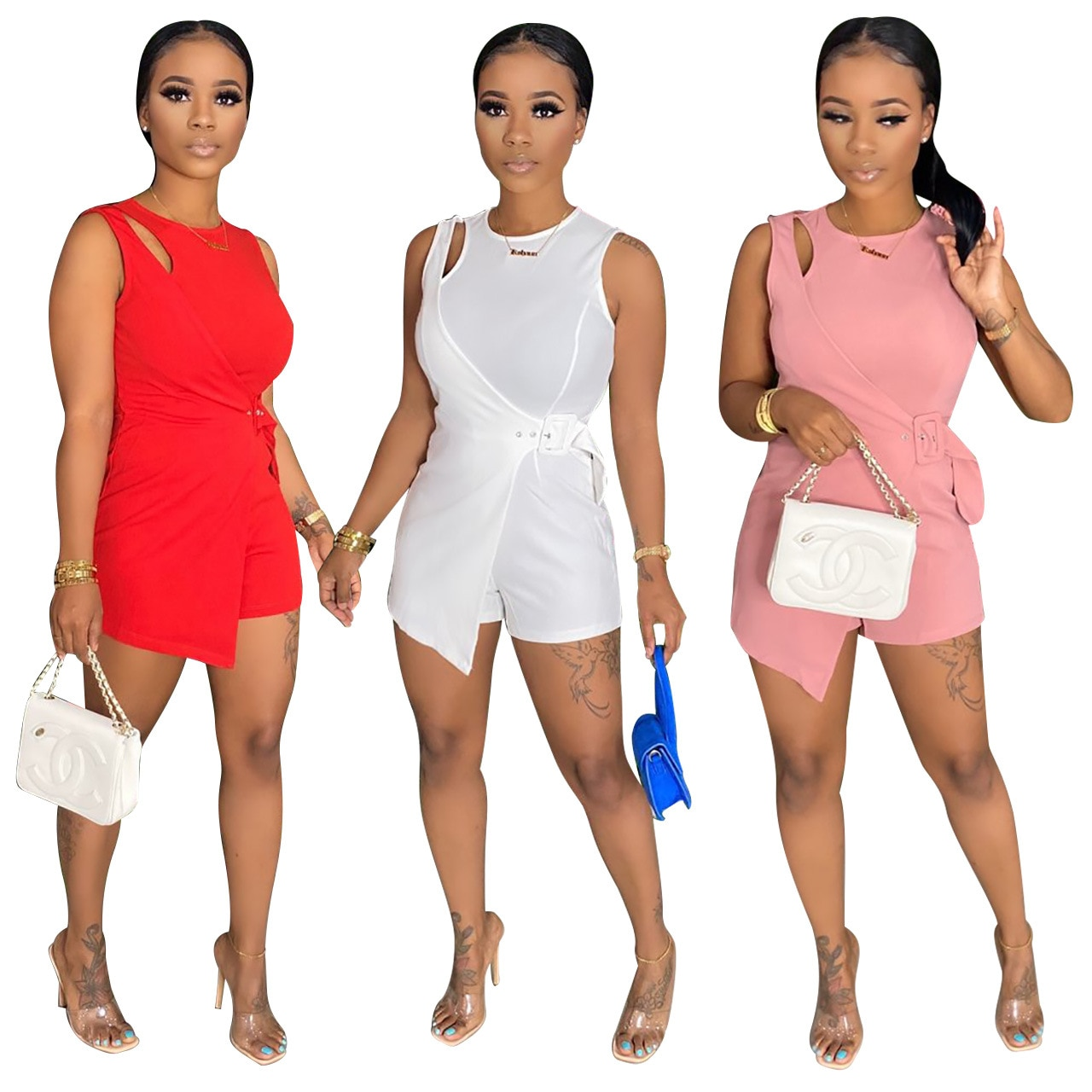 Adogirl Women Hollow Out Solid Color Short Jumpsuit Sleeveless O-Neck Adjustable Buckle Romper Elegant One Piece Bodysuit