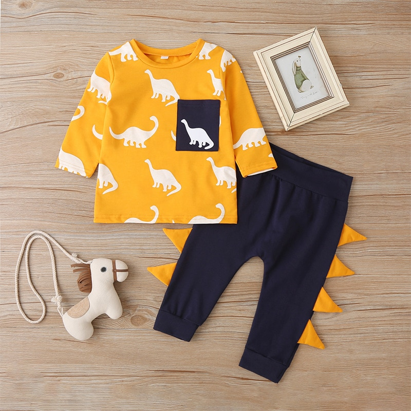 Spring and autumn models of high-quality childrens suits cartoon dinosaur boys girls sweater trousers two-piece suit