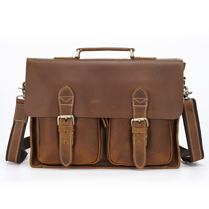 Men Vintage Travel Briefcases Real Leather 2021 Male Casual Large Fashion  Business Briefcase Hand 15