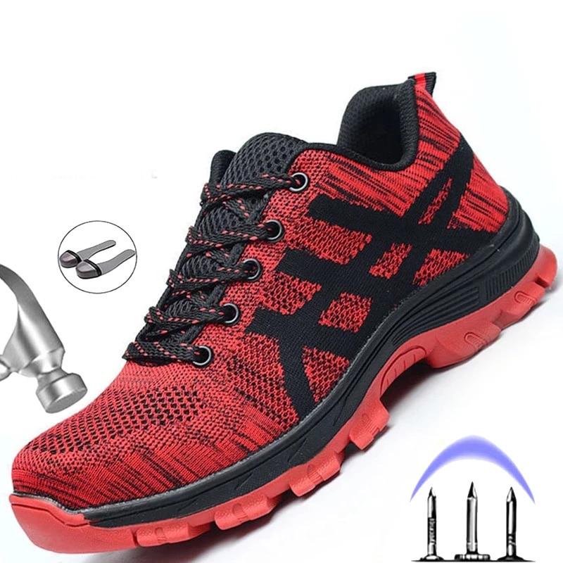 Sapatos de Segurança de Malha Sapatos de Luz dos Homens Botas de Trabalho Novo Ryder Sapatilha Indestrutível Aço Toe Macio Anti-piercing Mais Tamanho 36-50 2021