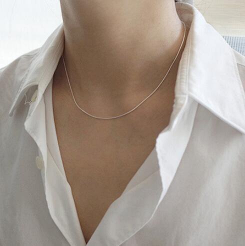 Collares de plata de ley 100% auténtica 925 para mujer, collar de cadena fina para gargantilla, venta al por mayor, lotes de regalos de cumpleaños Syster