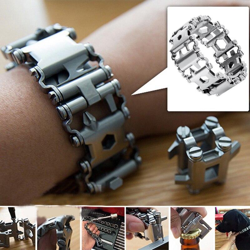 29 in 1 Men Outdoor Spliced Bracelet Multifunctional Wearing Screwdriver Tool Hand Chain Field Survi