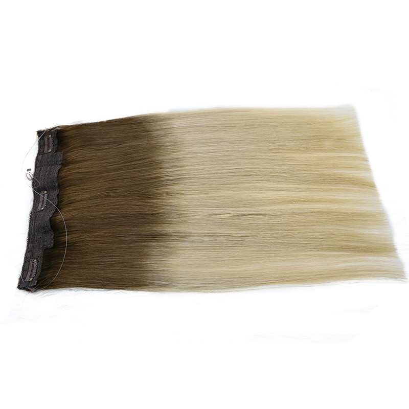 Double drawn thick end real virgin human hair invisible wire hair extensions Halo hair extensions