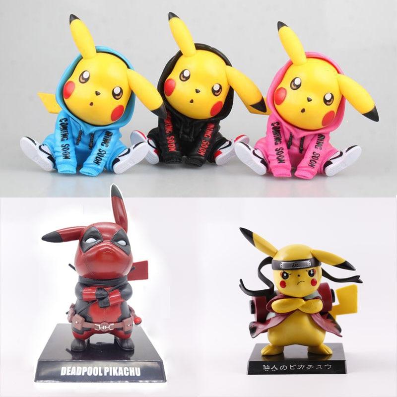 13cm anime cosplay deadpool pikachu cos uzumakinaruto mini figura pvc carro deco collectible modelo de brinquedo mini estatueta boneca brinquedo presente