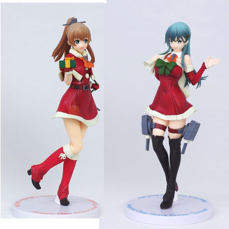Figura Original Kantai colección Suzuya Kumano vestido de Navidad Ver PVC figura de acción linda chica modelo colección juguete