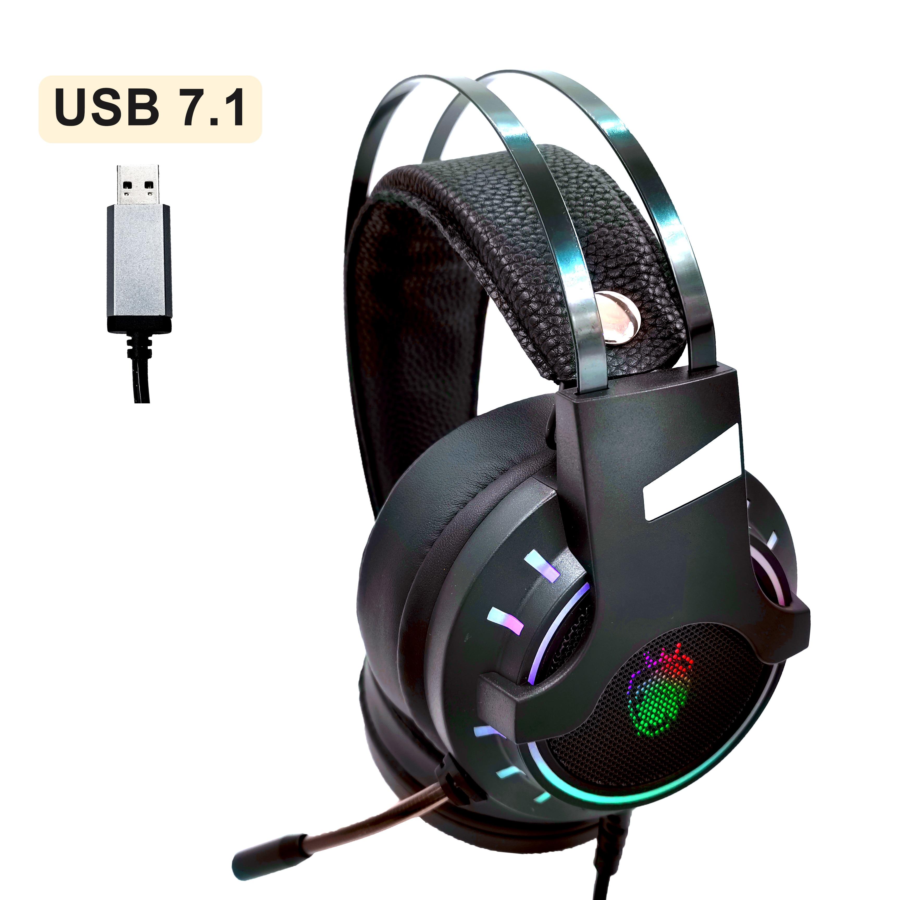 Auriculares USB 7,1 con cable para música y juegos, auriculares con micrófono estéreo, auriculares para juegos, luz RGB con bajos antirruido