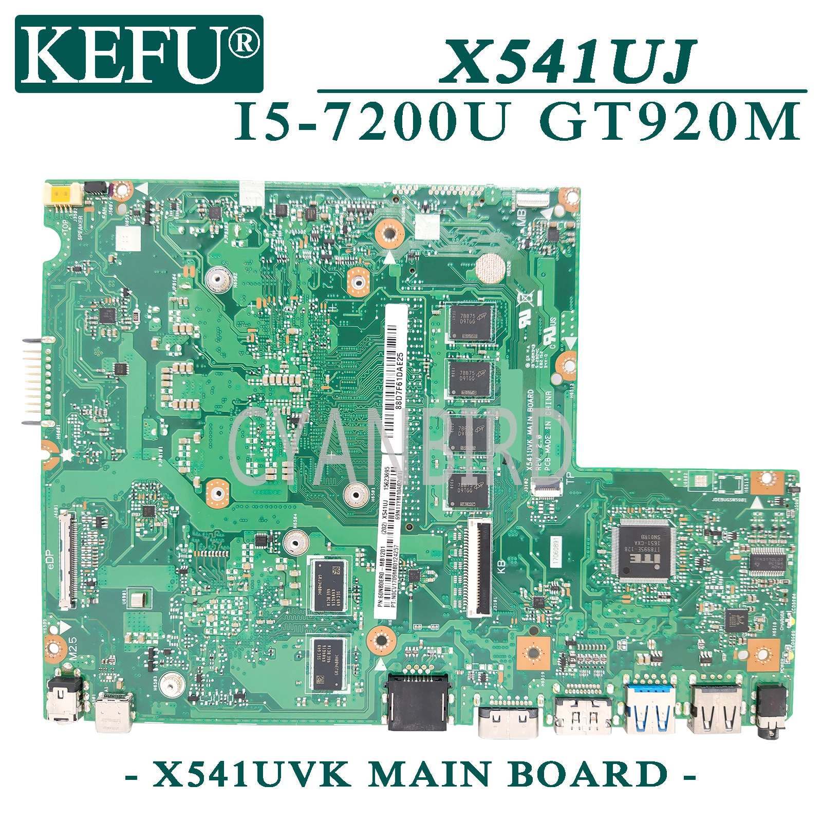 KEFU X541UVK اللوحة الرئيسية الأصلية ل ASUS X541UJ X541UV X541U مع 4GB-RAM I5-7200U GT920M اللوحة الأم للكمبيوتر المحمول