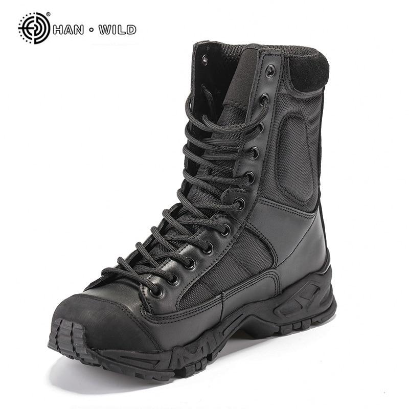 أحذية عسكرية للرجال ، جلد أسود ، أحذية عمل قتالية ، الصحراء ، الكاحل ، تكتيكي ، مقاس كبير