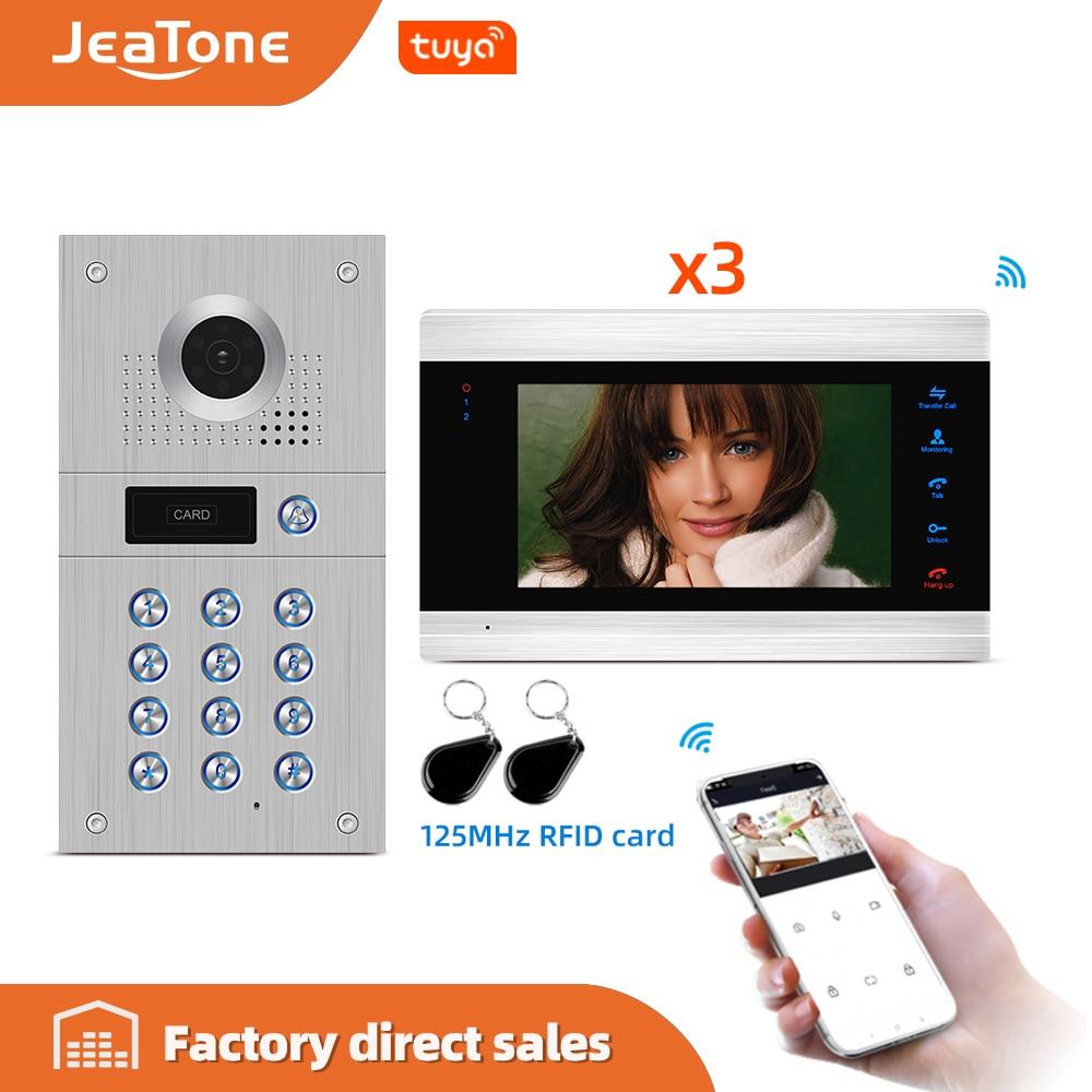 Jeatone 7'' 1-3 WIFI Smart IP Indoor Monitor Video Door Phone Intercom System Video Recording, Support iOS/Android Remote Unlock