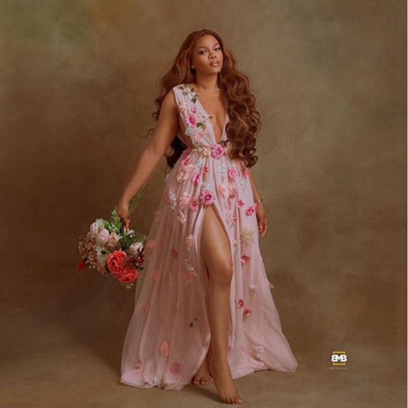 مثير عميق الخامس الرقبة الزهور فستان الزفاف إلى التصوير الجانب شق أكمام الأزهار الطابق طول الأمومة النساء فساتين حجم كبير