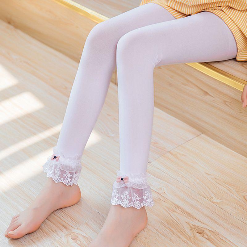 Niños Niñas Primavera Verano Leggings encaje ajuste Bowknot tobillo longitud pantalones Color sólido elástico princesa baile sin pies