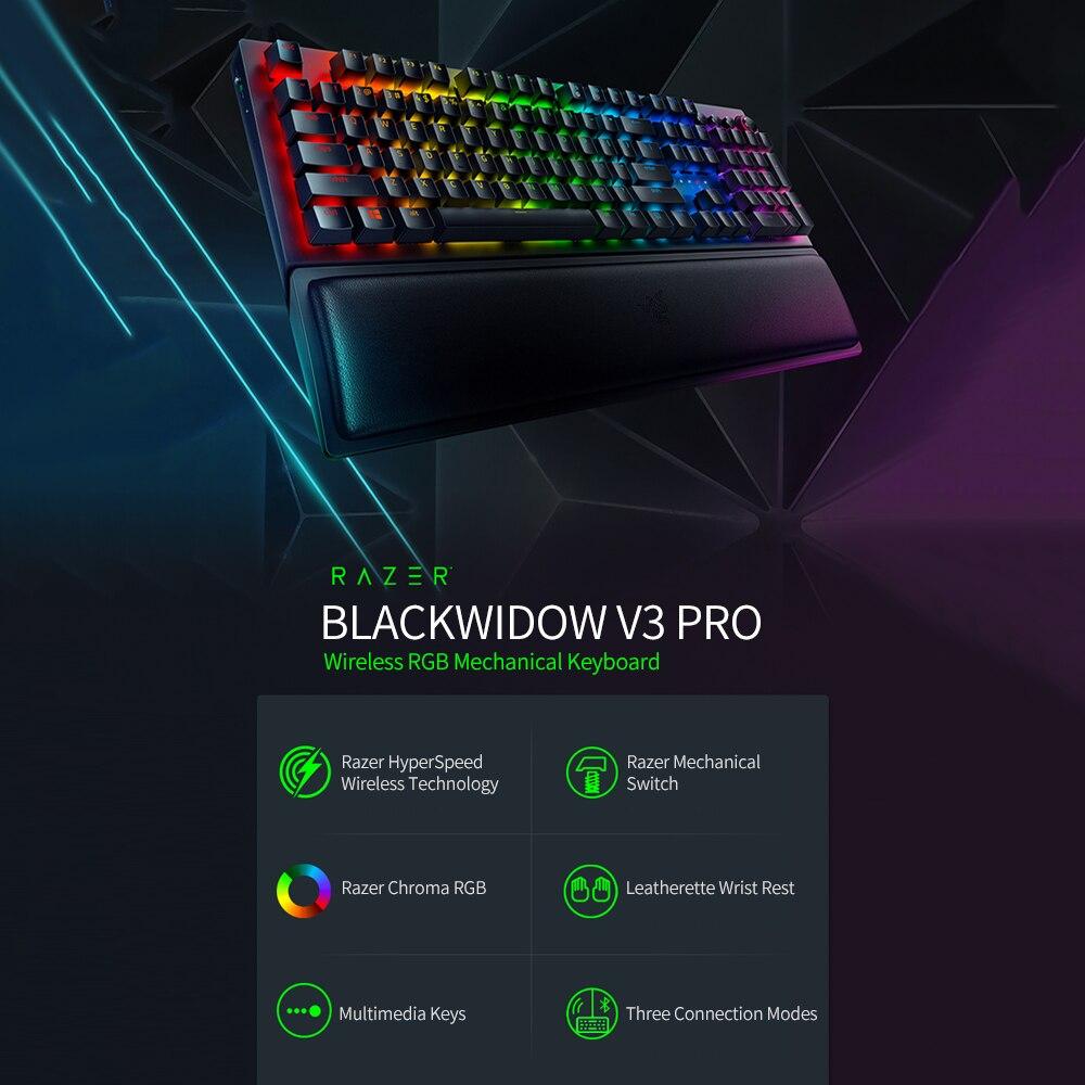 لوحة مفاتيح Razer BlackWidow V3 Pro لاسلكية للألعاب لوحة مفاتيح ميكانيكية Razer Chroma RGB مع مفتاح ميكانيكية باللون الأخضر من Razer