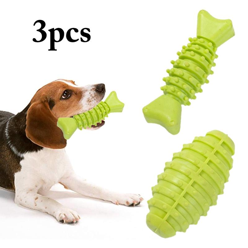 3Pcs/Set Pet Dog Toys Rubber Interactive Solid Color Chew Bite Resistant Puppy Playing Accessories