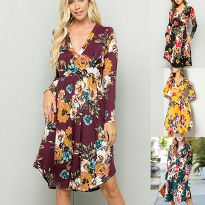Linglewei New Spring and Summer Women's Dress V-neck Long sleeves printing Irregular Street tide Dress