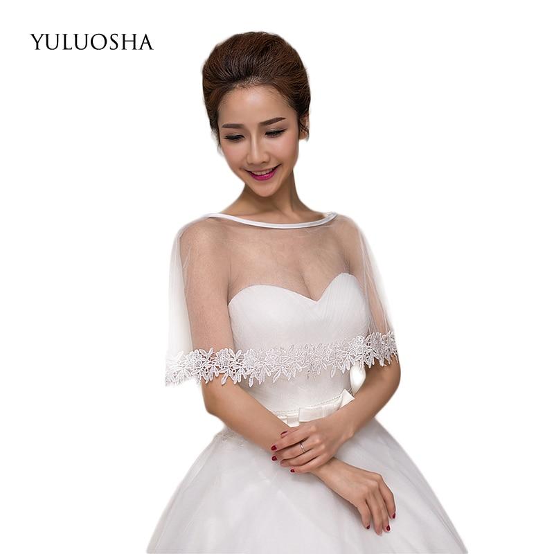 Yuluosha vestido com capa em renda borda flora jaqueta feminina bolero malha pura macio acessórios de casamento feminino nupcial envolve xales