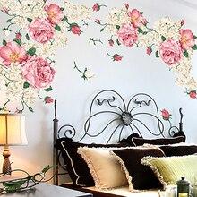 190*90cm pegatinas de pared de flores de peonía tamaño grande dormitorio TV sofá pared arte calcomanía decoración flores románticas decoración del hogar póster de pared