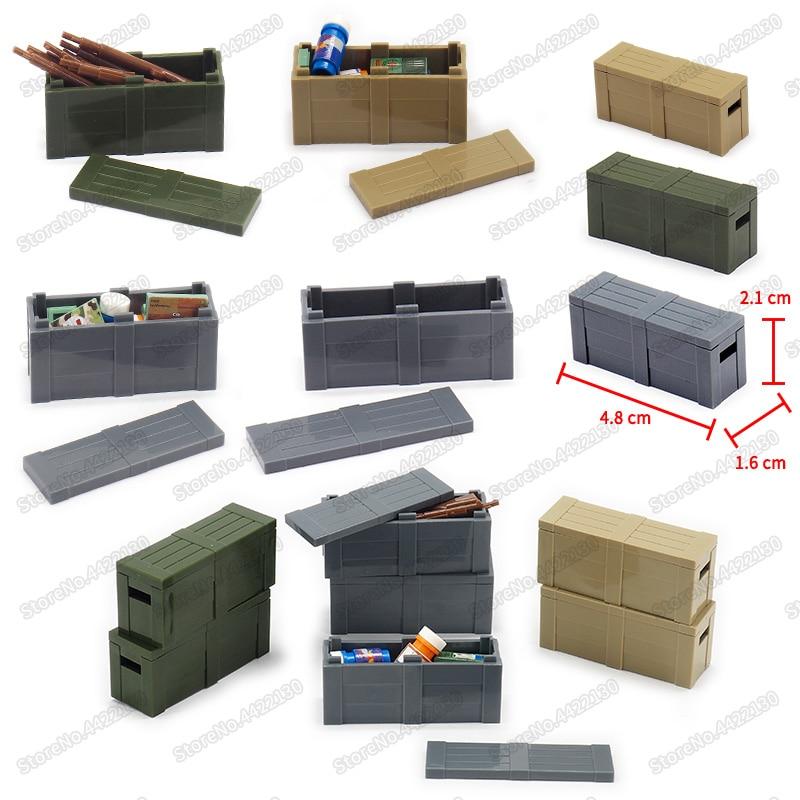 Caja de tratamiento de armas militares bloques de construcción Ww2 ciudad Airdrop Army figuras caja de montaje Moc niño Navidad cumpleaños regalo Juguetes