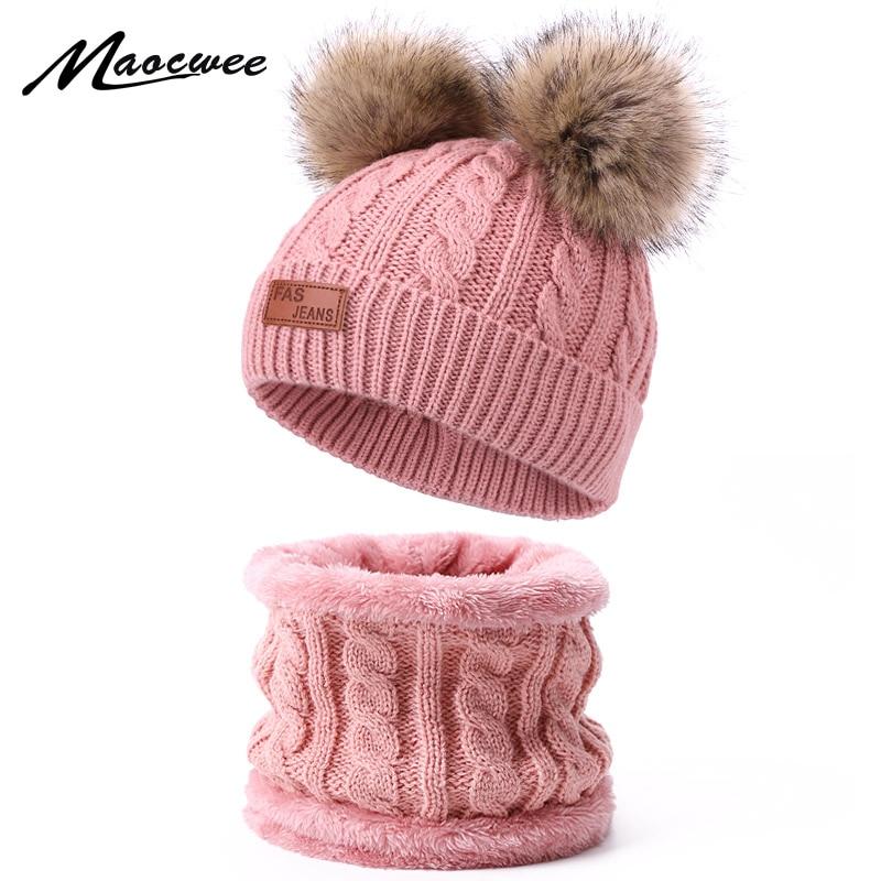 Two pieces Hat Scarf Set Beanie Cap Children's Hats Girls Caps Fake Ball Pompon  Keep Warm Winter Knitted Skullies Kids Bone