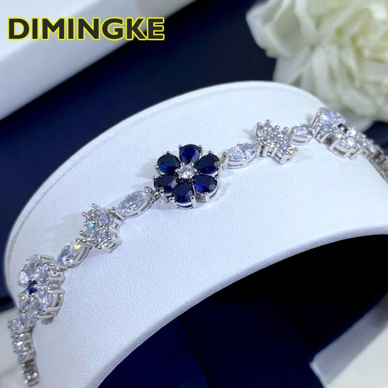 DIMINGKE زهرة الياقوت الماس سوبر الفضة سوار S925 الفضة والمجوهرات حفل زفاف امرأة هدية 17 سنتيمتر