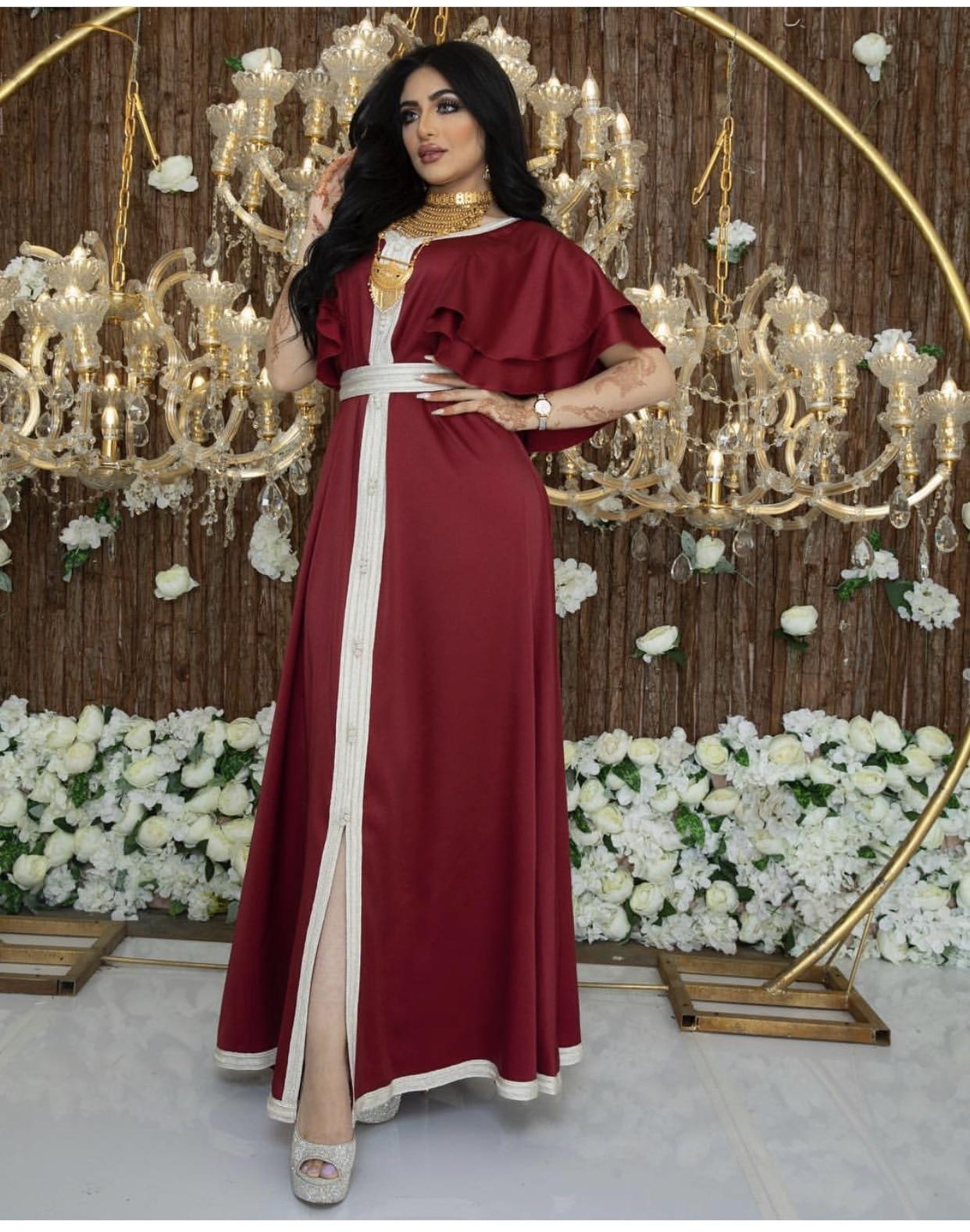 Muslim Women Abaya Dubai Lace Robe Ruffle Sleeve Dress