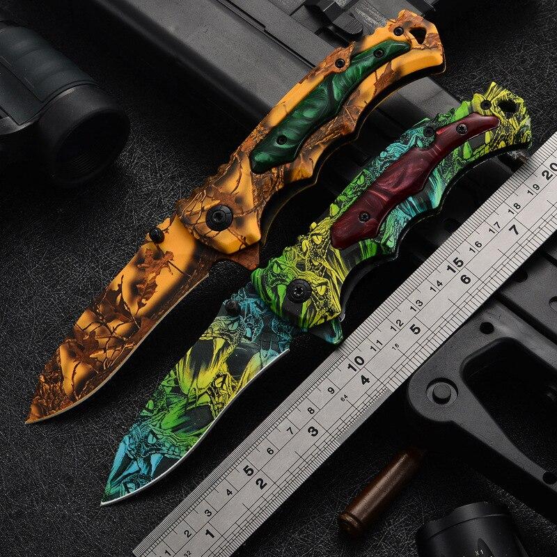 Складной нож высокой твердости с цветочным принтом, Многофункциональный тактический Походный нож для кемпинга, скалолазания, уличные складные ножи