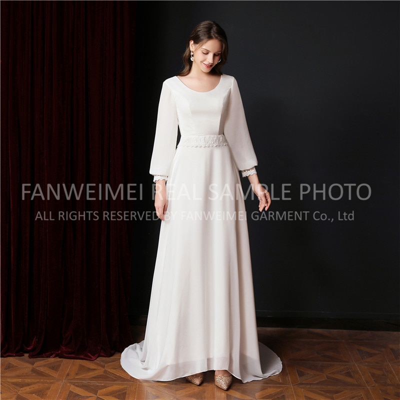 FANWEIMEI#9013 Elegant Long Sleeve Chiffon O-Neck Backless Wedding Dress Bride Gown