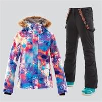 gsou snow women ski suit winter jacket pant fur hooded adult snowboard clothing trouser windproof waterproof outdoor sport wear
