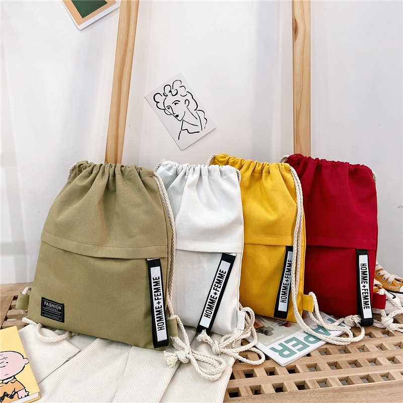 Women Shoulder Bags Korean Style Solid Color Letter Pattern Drawstring Purse Adjustable Strap Fashion Outdoor Backpacks