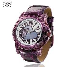 PB Liebe Herz Uhren für Frauen Kristall Uhr Frauen Quarz Römischen ziffern Zifferblatt Italienische Lederband Wasserdicht
