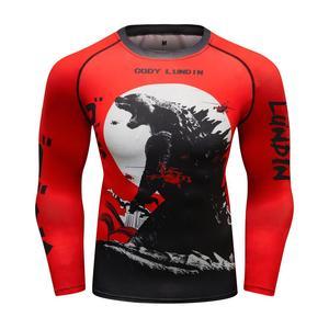 Hot Sale New Long Sleeve Men MMA t-shirt O-neck Rashguard Elastic Jiu Jitsu Bjj T Shirt Men's Sport Fitness Clothing T-Shirts