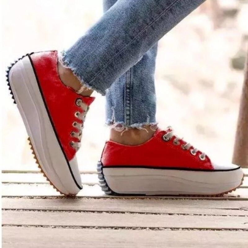 2021 Summer Women New Flat Bottom LaceUp SportsShoesFashionable Comfortable Antiskid  Breathable Hot
