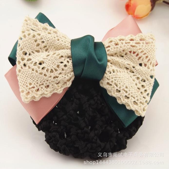 Women's professional headdress professional head flower hotel bank nurse work bow hair net handmade ribbon lace gift FS048