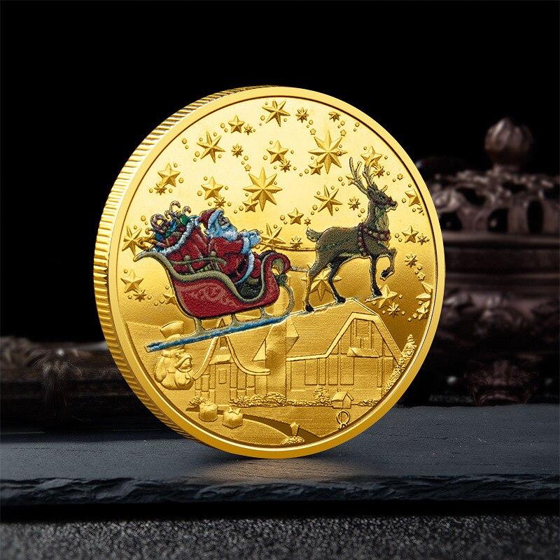 Памятные монеты Санта Клауса, красочные рельефные медали, рождественские маленькие подарки, сувенирные монеты
