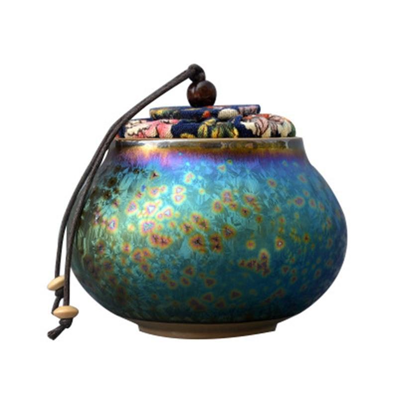 Horno de cerámica glaseado siete colores Jian Zhan hecho a mano exquisitos contenedores para té jarra de almacenamiento para té Decoración