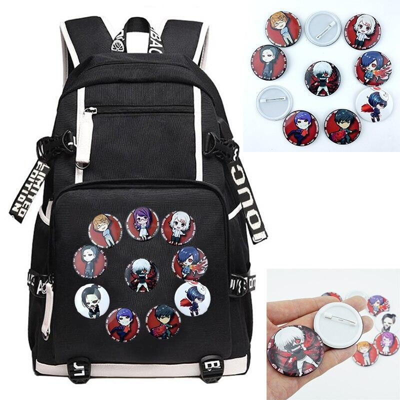 Anime Tokyo Ghoul Kaneki Ken Badge Pins Negro Mochila mochila Cosplay Itabag mochila escolar adolescentes estudiante Laptop bolsas Bagpack