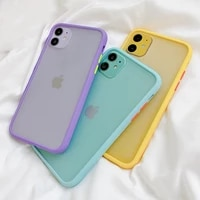 shockproof soft tpu silicone clear case cover mint simple matte bumper phone case for iphone 12 pro xr x xs max
