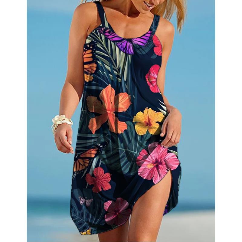 Vestido de verano de lunares para Mujer, minivestido Sexy informal, suelto, fino, para playa y fiesta, Rosa, con cuello de pico, 2020