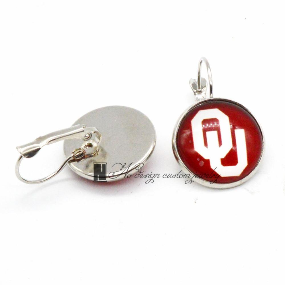 Universidad de Oklahoma NCAA amuletos pendientes de gancho francés para mujeres regalo 10 piezas (5 pares) /lote GE088