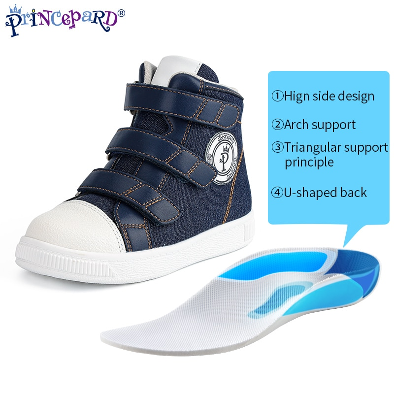 Princepard New Autumn Children Orthopedic Shoes Blue Kids Sport Sneakers With Corrective Insole Collocate with AFOs Arch Support