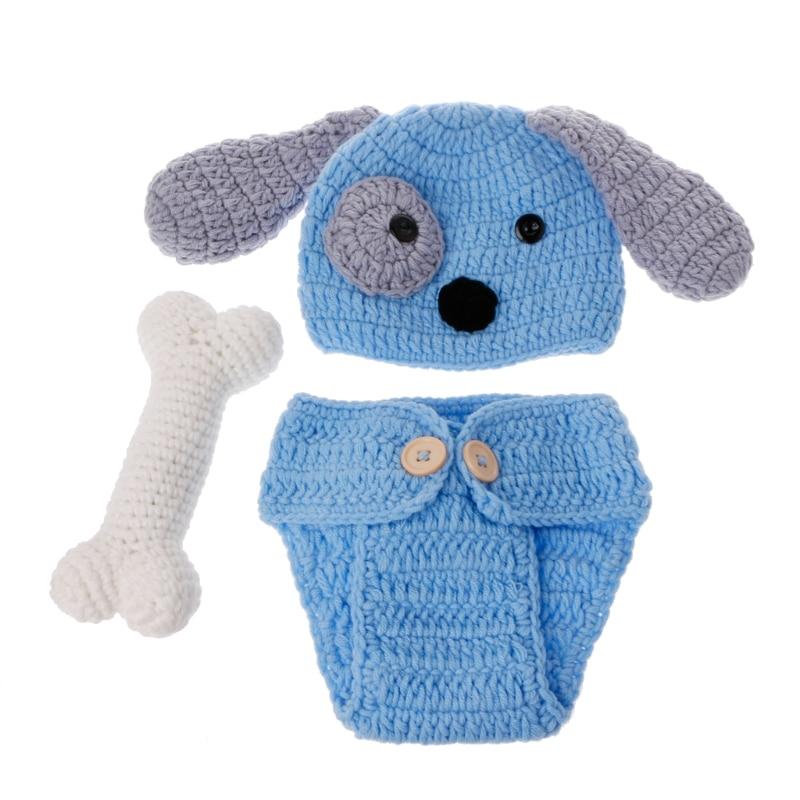 Accesorios de fotografía recién nacido precioso perro traje conjunto tejido estudio fotografía