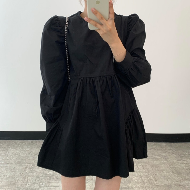 Chic of South Korea Spring Dress Simple Dark Round Neck Loose and Versatile Dress Woman Show Small B