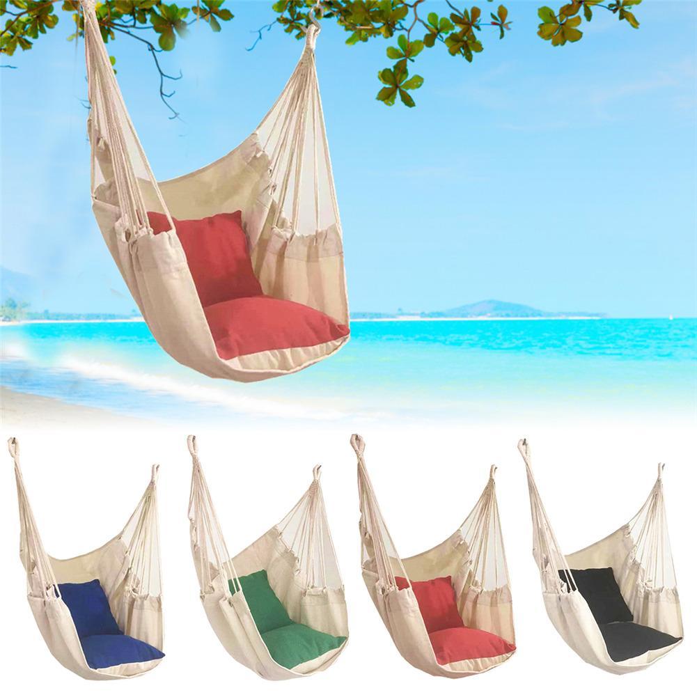 Подвесное садовое кресло-качели, портативный подвесной гамак из толстой холщовой ткани для путешествий, кемпинга, мягкое кресло-качели для ...
