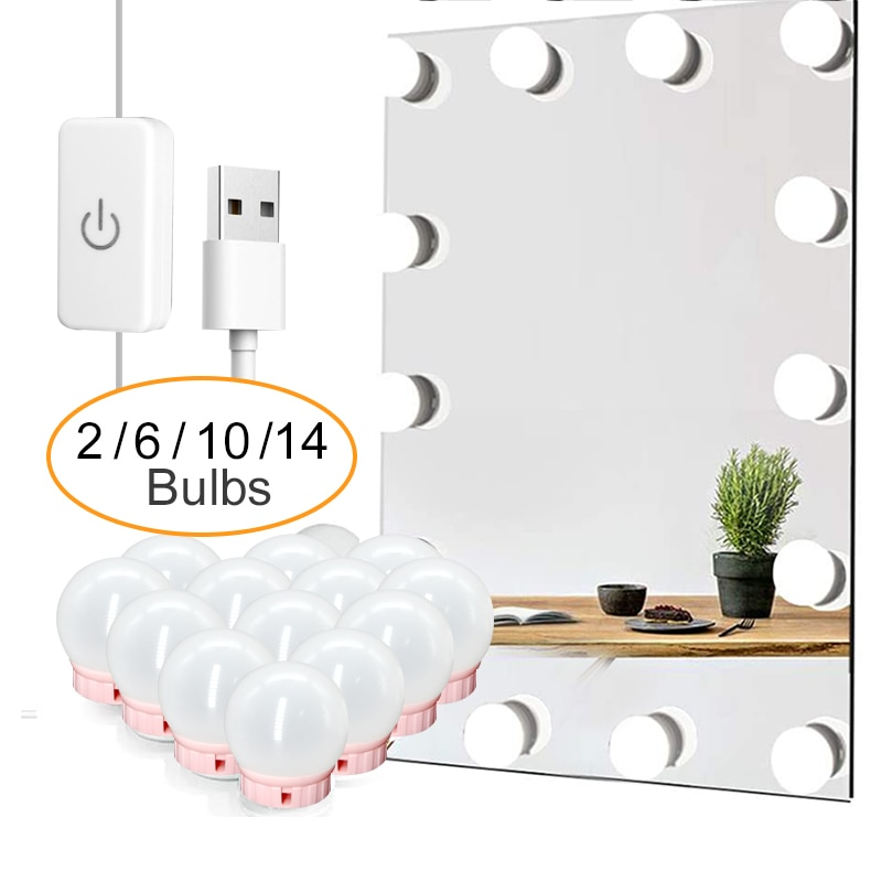 LED Professional Makeup Mirror Light Full Backlit Mirror USB Table Mirror with Light 6 10 14Bulbs Ho