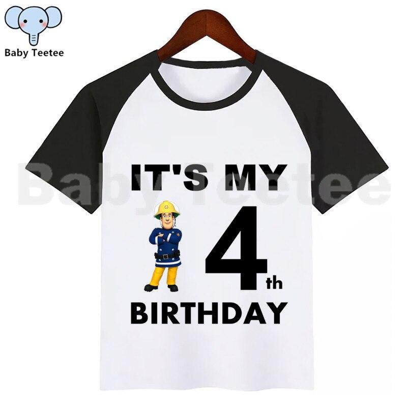 Meninas meninos bombeiro sam aniversário tshirt crianças roupas meninas topos meninos tshirt crianças sam bombeiro aniversário tshirt
