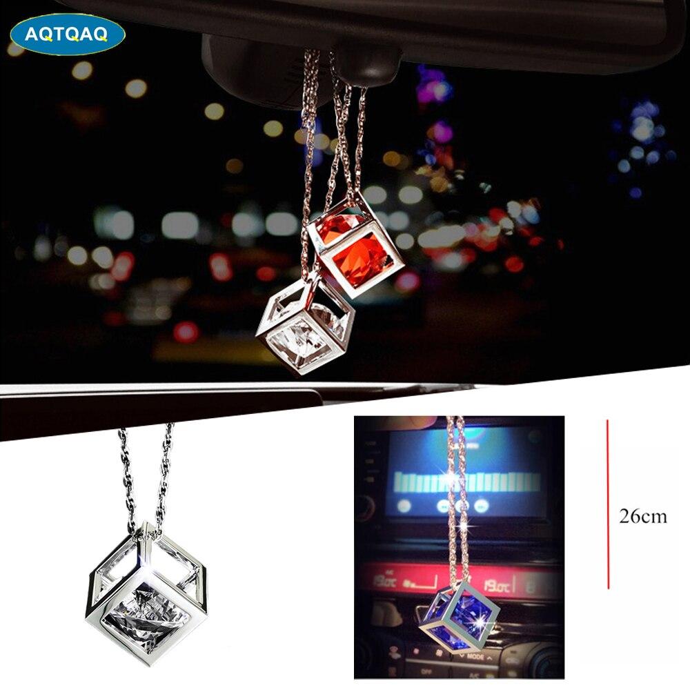 1Pcs Car Pendant Crystals Cube Car Charms Rear View Mirror Decoration Automobile Ornaments Hanging Interior Suspension