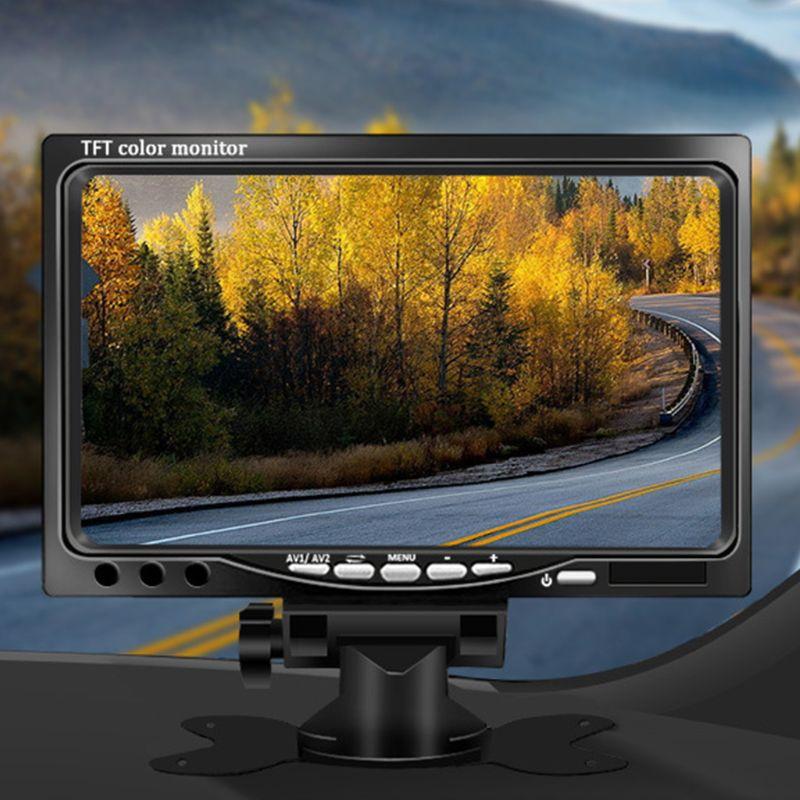 1 Juego de pantalla TFT a Color de 7 pulgadas para coche, Monitor LCD Digital, cámara reversa de respaldo, vista trasera de coche, grabador de vídeo DVD