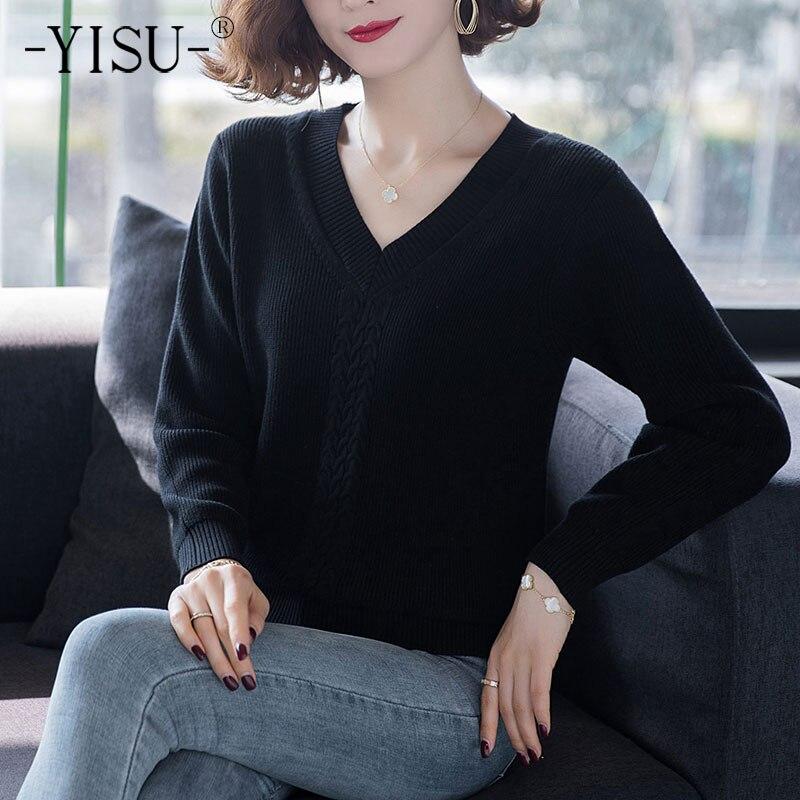 YISU 2021 موضة المرأة قسم رقيقة سترة الربيع بلون الخامس الرقبة طويلة الأكمام فضفاض البلوز الإناث عادية بلوفر مغزول