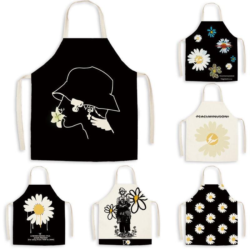 Высококачественные антижирные Кухонные фартуки с маргаритками для приготовления пищи нагрудники для взрослых хлопковые льняные фартуки б...