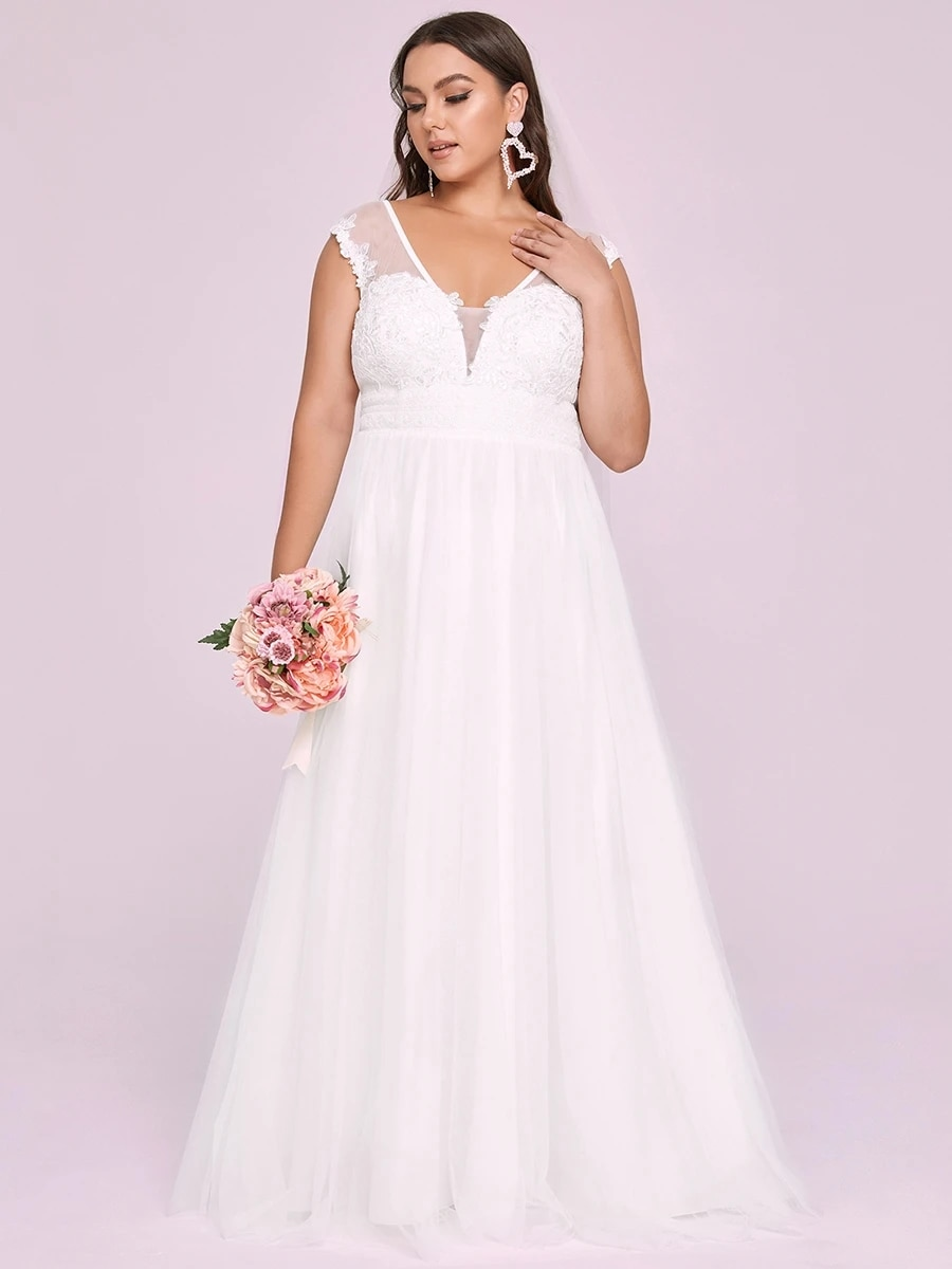 Review Simplicity Wedding Dress Lace Tulle With A-line Floor Length Sleeveless V-neck Plus Size Bride Dresses Backless Robes De Mariée